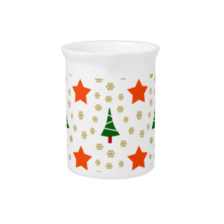 595 Cute Christmas tree and stars pattern.jpg Beverage Pitcher