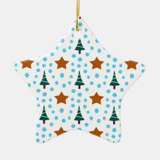 597 Cute Christmas tree and stars pattern.jpg Ceramic Ornament
