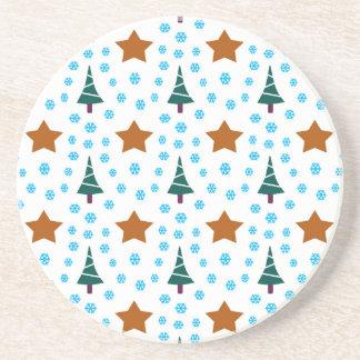 597 Cute Christmas tree and stars pattern.jpg Drink Coaster