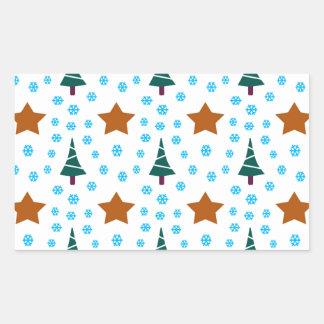 597 Cute Christmas tree and stars pattern.jpg Rectangular Sticker