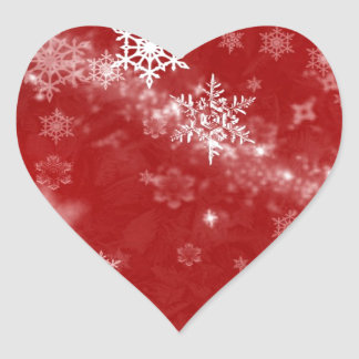 597 DEEP RED WINTER FROST SNOWFLAKES BACKGROUNDS W HEART STICKER