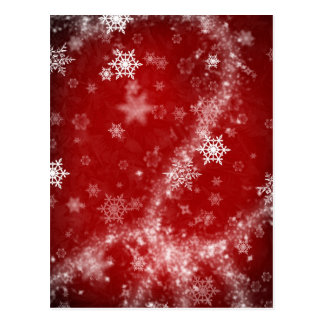 597 DEEP RED WINTER FROST SNOWFLAKES BACKGROUNDS W POSTCARD