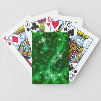 597 DEEP RICH GREENS WHITE WINTER FROST SNOWFLAKES BICYCLE PLAYING CARDS