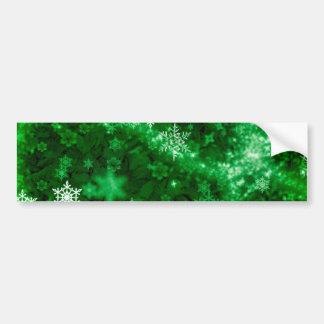 597 DEEP RICH GREENS WHITE WINTER FROST SNOWFLAKES BUMPER STICKER