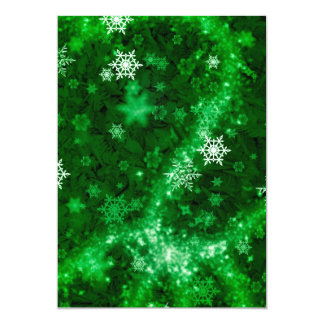 597 DEEP RICH GREENS WHITE WINTER FROST SNOWFLAKES CARD