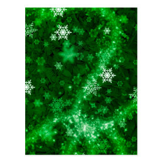 597 DEEP RICH GREENS WHITE WINTER FROST SNOWFLAKES POSTCARD