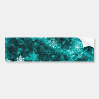 597 TEAL AQUA GREEN BLUE WHITE WINTER FROST SNOWFL CAR BUMPER STICKER