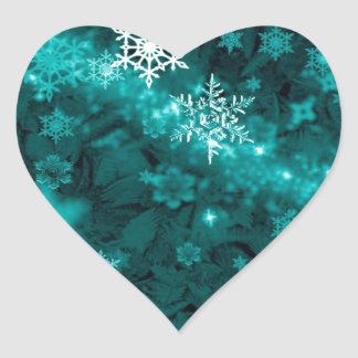 597 TEAL AQUA GREEN BLUE WHITE WINTER FROST SNOWFL HEART STICKER
