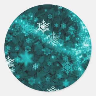 597 TEAL AQUA GREEN BLUE WHITE WINTER FROST SNOWFL ROUND STICKER