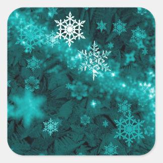 597 TEAL AQUA GREEN BLUE WHITE WINTER FROST SNOWFL SQUARE STICKERS