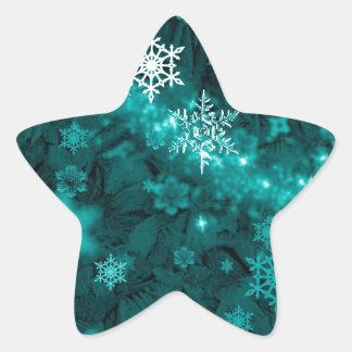597 TEAL AQUA GREEN BLUE WHITE WINTER FROST SNOWFL STAR STICKER