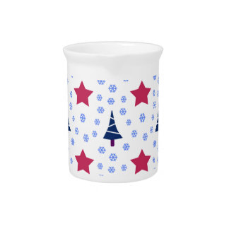 598 Cute Christmas tree and stars pattern.jpg Beverage Pitcher