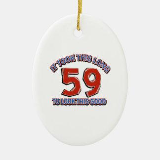 59 birthday design ceramic ornament