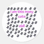 59 cabezas del gato viejas etiqueta redonda