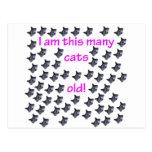 59 cabezas del gato viejas postal