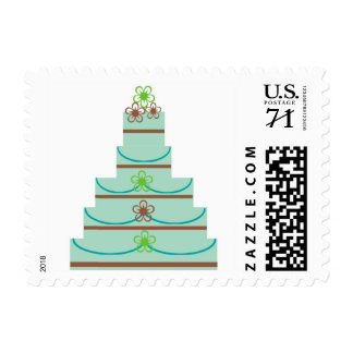 59 Cent Wedding Cake blue brown green Stamp