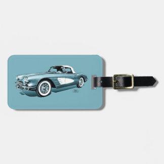 59 Corvette Blue Background Travel Bag Tag