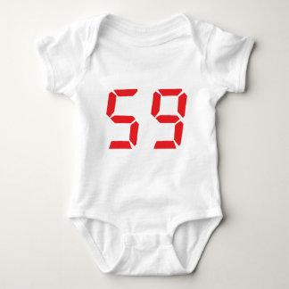 59 fifty-nine red alarm clock digital number baby bodysuit