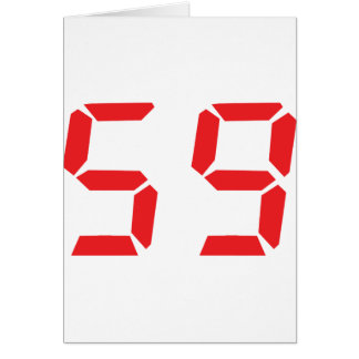 59 fifty-nine red alarm clock digital number card