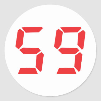 59 fifty-nine red alarm clock digital number classic round sticker