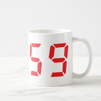 59 fifty-nine red alarm clock digital number classic white coffee mug