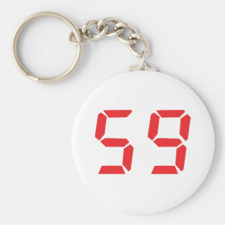 59 fifty-nine red alarm clock digital number keychain