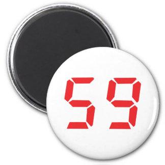 59 fifty-nine red alarm clock digital number magnet
