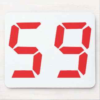 59 fifty-nine red alarm clock digital number mouse pad