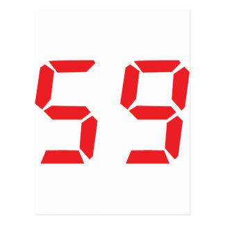 59 fifty-nine red alarm clock digital number postcard