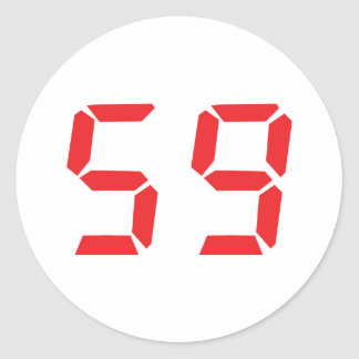 59 fifty-nine red alarm clock digital number stickers
