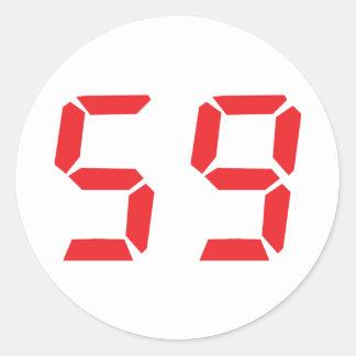 59 fifty-nine red alarm clock digital number sticker