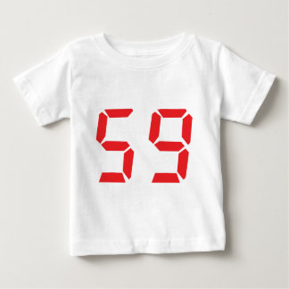 59 fifty-nine red alarm clock digital number tee shirt