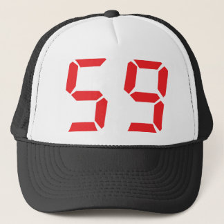 59 fifty-nine red alarm clock digital number trucker hat
