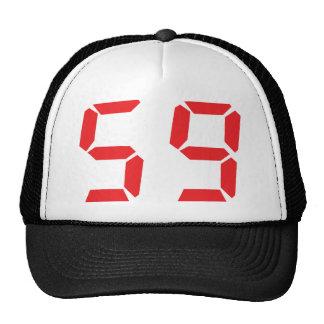 59 fifty-nine red alarm clock digital number trucker hat