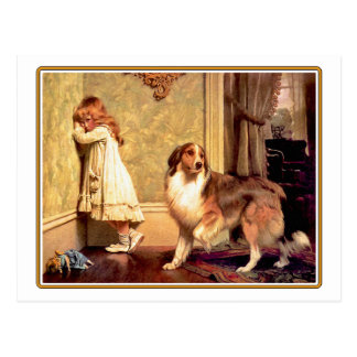 59  Girl with Pet Shelti Postcard