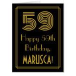 "[ Thumbnail: 59th Birthday: Art Deco Inspired Look ""59"" + Name Card ]"