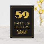 "[ Thumbnail: 59th Birthday – Art Deco Inspired Look ""59"" & Name Card ]"