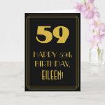 "[ Thumbnail: 59th Birthday ~ Art Deco Inspired Look ""59"" & Name Card ]"