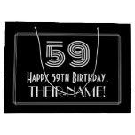 "[ Thumbnail: 59th Birthday — Art Deco Inspired Look ""59"" & Name Gift Bag ]"