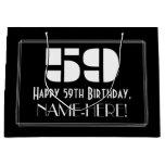 "[ Thumbnail: 59th Birthday ~ Art Deco Inspired Look ""59"" + Name Gift Bag ]"