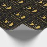 """[ Thumbnail: 59th Birthday ~ Art Deco Inspired Look """"59"""", Name Wrapping Paper ]"""