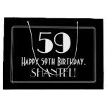 "[ Thumbnail: 59th Birthday: Art Deco Inspired Style ""59"", Name Gift Bag ]"