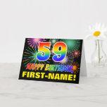 [ Thumbnail: 59th Birthday: Bold, Fun, Fireworks, Rainbow 59 Card ]