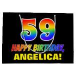 [ Thumbnail: 59th Birthday: Bold, Fun, Simple, Rainbow 59 Gift Bag ]