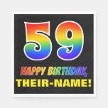 [ Thumbnail: 59th Birthday: Bold, Fun, Simple, Rainbow 59 Napkins ]