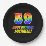 [ Thumbnail: 59th Birthday: Bold, Fun, Simple, Rainbow 59 Paper Plate ]