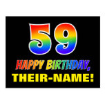 [ Thumbnail: 59th Birthday: Bold, Fun, Simple, Rainbow 59 Postcard ]