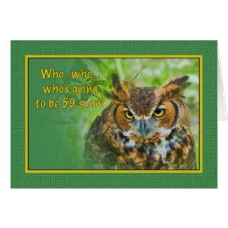 59th Birthday Card with Great Horned Owl