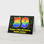 [ Thumbnail: 59th Birthday: Colorful Music Symbols & Rainbow 59 Card ]