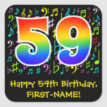 [ Thumbnail: 59th Birthday: Colorful Music Symbols, Rainbow 59 Sticker ]